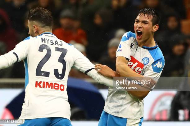 Hirving Lozano of SSC Napoli celebrates after scoring the opening goal during the Serie A match between AC Milan and SSC Napoli at Stadio Giuseppe...