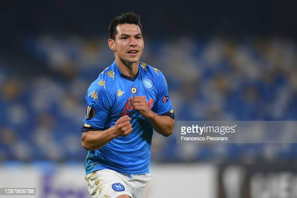 Hirving Lozano of SSC Napoli celebrates after scoring their sides second goal during the UEFA Europa League Group F stage match between SSC Napoli...