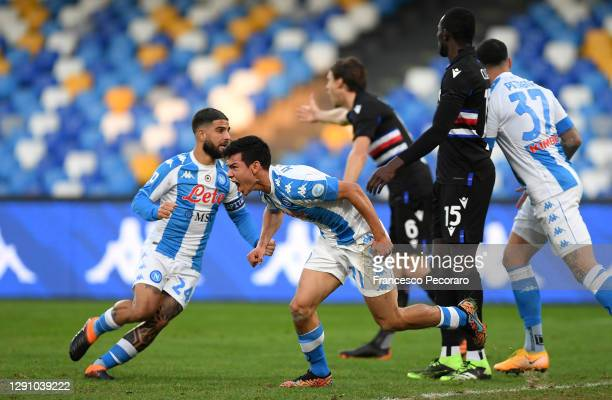 Hirving Lozano of S.S.C. Napoli celebrates after scoring their team's first goal during the Serie A match between SSC Napoli and UC Sampdoria at...