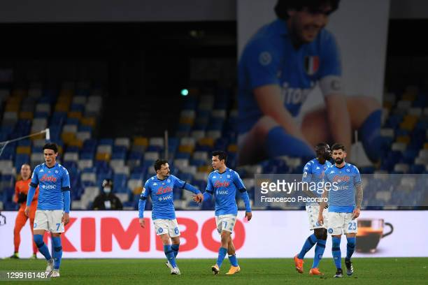 Hirving Lozano of S.S.C. Napoli celebrates after scoring their team's second goal with his team during the Coppa Italia match between SSC Napoli and...
