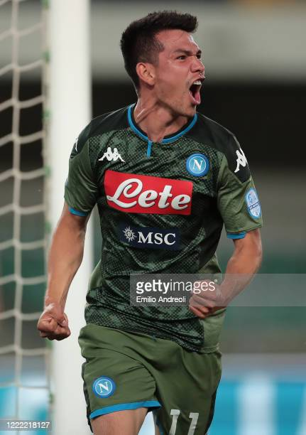 Hirving Lozano of SSC Napoli celebrates his goal during the Serie A match between Hellas Verona and SSC Napoli at Stadio Marcantonio Bentegodi on...