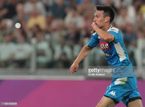 Hirving Lozano of SSC Napoli celebrates the second goal of his team during the Serie A match between Juventus and SSC Napoli at Allianz Stadium on...