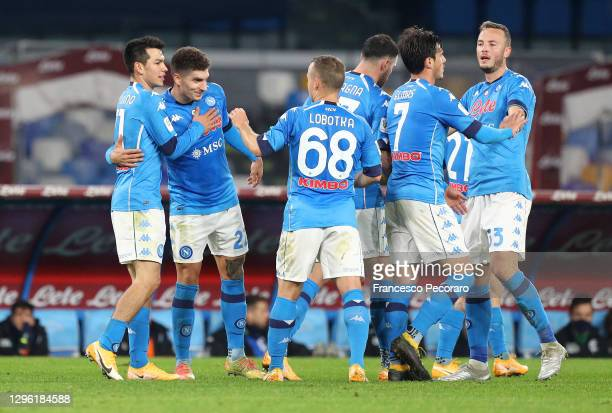 Hirving Lozano of S.S.C. Napoli celebrates with Giovanni Di Lorenzo, Stanislav Lobotka and teammates after scoring their team's second goal during...