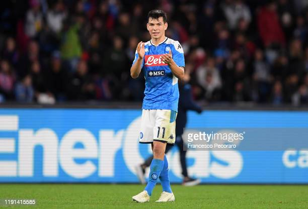 Hirving Lozano of SSC Napoli during the Serie A match between SSC Napoli and Bologna FC at Stadio San Paolo on December 01 2019 in Naples Italy