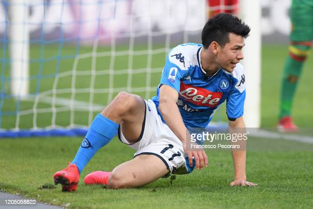 Hirving Lozano of SSC Napoli during the Serie A match between SSC Napoli and US Lecce at Stadio San Paolo on February 09 2020 in Naples Italy