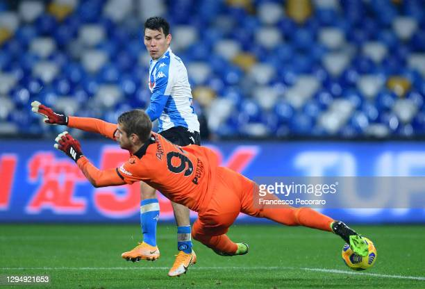 Hirving Lozano of S.S.C. Napoli has a shot during the Serie A match between SSC Napoli and Spezia Calcio at Stadio Diego Armando Maradona on January...