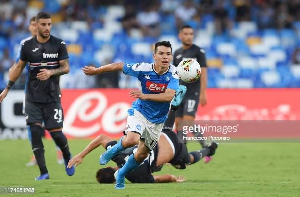 Hirving Lozano of SSC Napoli in action during the Serie A match between SSC Napoli and UC Sampdoria at Stadio San Paolo on September 14 2019 in...