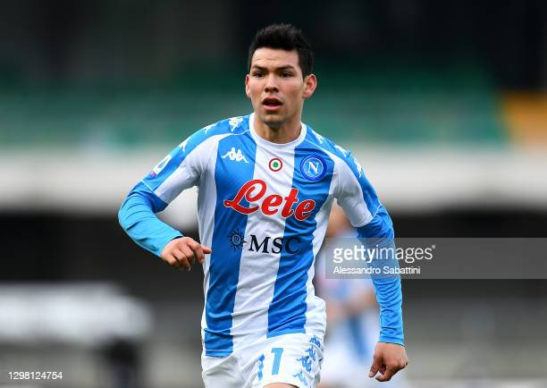 Hirving Lozano of SSC Napoli in running action during the Serie A match between Hellas Verona FC and SSC Napoli at Stadio Marcantonio Bentegodi on...