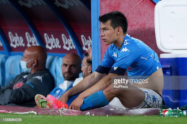 Hirving Lozano of SSC Napoli looks dejected during the Serie A match between SSC Napoli and Hellas Verona at Stadio Diego Armando Maradona, Naples,...