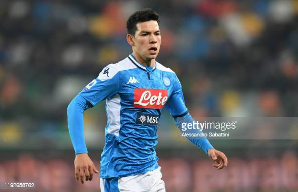Hirving Lozano of SSC Napoli looks on during the Serie A match between Udinese Calcio and SSC Napoli at Stadio Friuli on December 7 2019 in Udine...