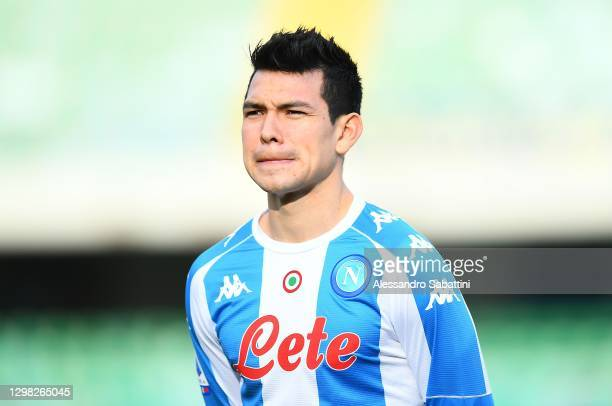 Hirving Lozano of SSC Napoli looks on during the Serie A match between Hellas Verona FC and SSC Napoli at Stadio Marcantonio Bentegodi on January 24,...