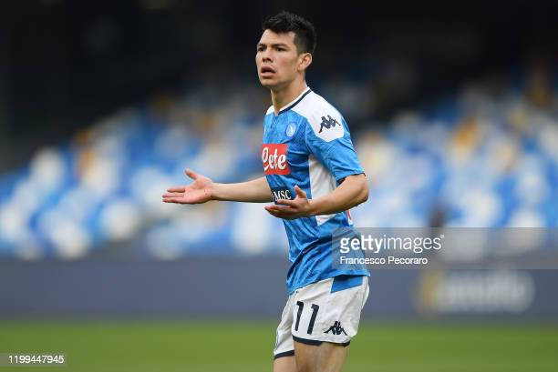 Hirving Lozano of SSC Napoli reacts during the Coppa Italia match between SSC Napoli and Perugia on January 14 2020 in Naples Italy