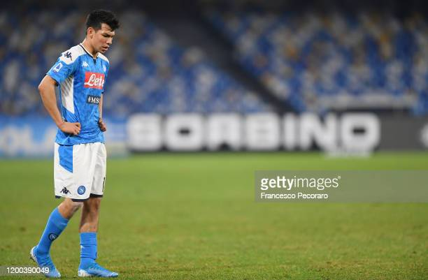 Hirving Lozano of SSC Napoli stands disappointed during the Serie A match between SSC Napoli and ACF Fiorentina at Stadio San Paolo on January 18...
