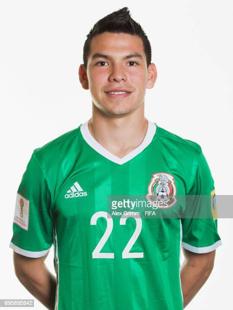 Hirving Lozano poses for a picture during the Mexico team portrait session on June 14 2017 in Kazan Russia