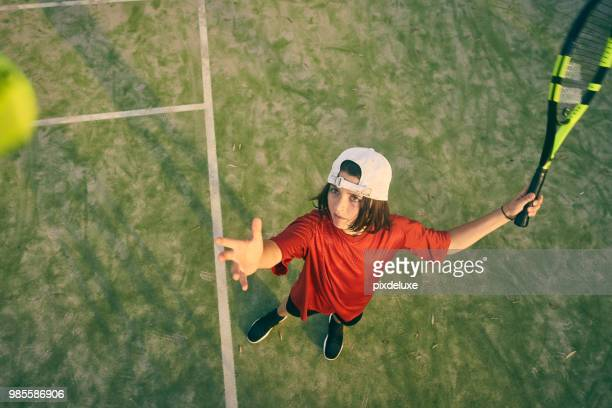 his ace in the hole - serving sport stock pictures, royalty-free photos & images