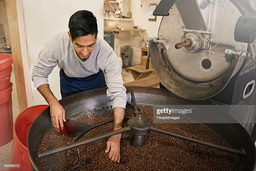 His beans are brewed to perfection : Stock Photo
