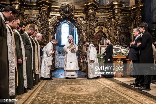 His Beatitude Epiphanius Metropolitan of Kyiv and all Ukraine participates in Christmas Liturgy with Ukrainian President Petro Poroshenko at St...