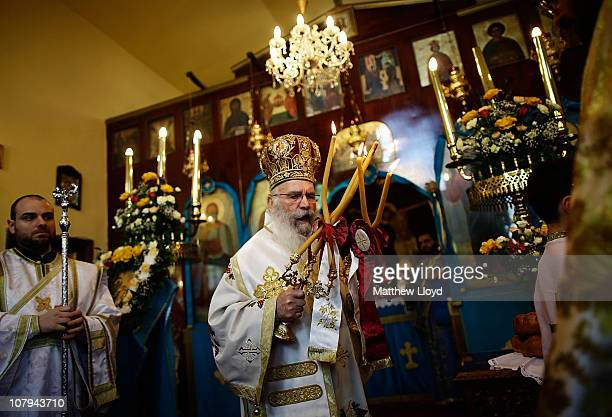 His Eminence Gregorios, Archbishop of Thyateira and Great Britain presides over the divine liturgy at the Parish of the Greek Orthodox Community of...