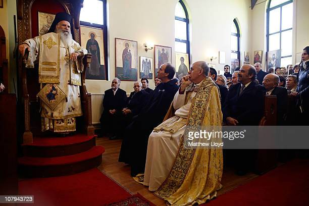 His Eminence Gregorios Archbishop of Thyateira and Great Britain presides over the divine liturgy at the Parish of the Greek Orthodox Community of...