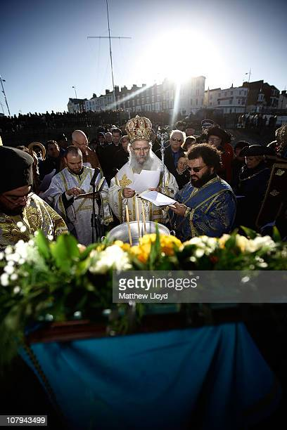 His Eminence Gregorios Greek Orthodox Archbishop of Thyateira and Great Britain conducts a ceremony to bless the waters of the seaside town of...