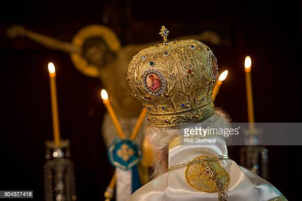 His Eminence Gregorios Greek Orthodox Archbishop of Thyateira and Great Britain leads a service for Feast of the Epiphany at the Greek Orthodox...
