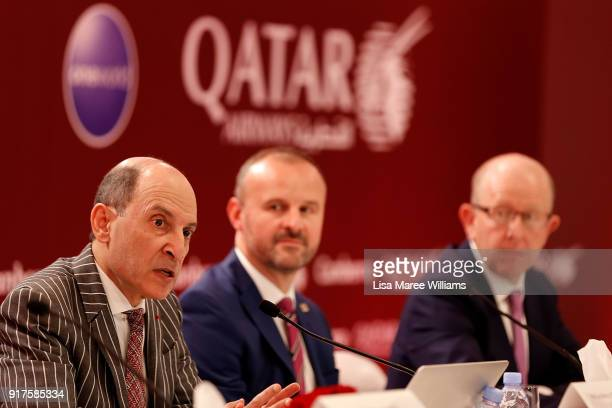 His Excellency Akbar Al Baker Group Chief Executive Qatar Airways and Andrew Barr Australian Capital Territory Chief Minister speak with the media...
