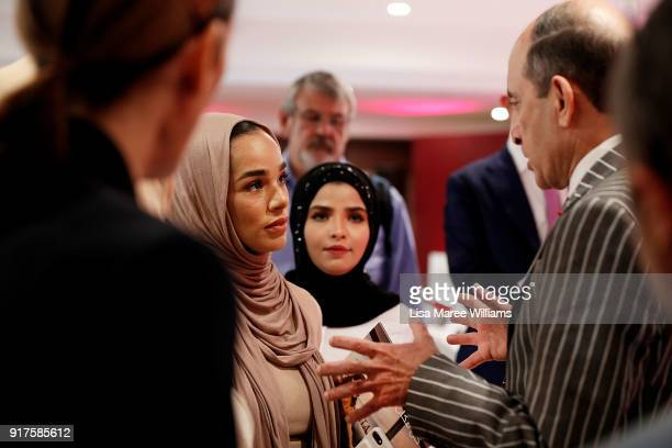 His Excellency Akbar Al Baker Group Chief Executive Qatar Airways speaks with members of the media during the Qatar Airways Canberra Launch press...