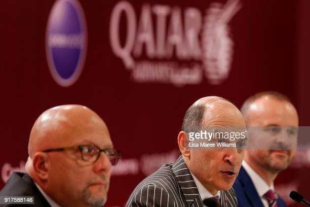 His Excellency Akbar Al Baker Group Chief Executive Qatar Airways speaks during the Qatar Airways Canberra Launch press conference on February 13...