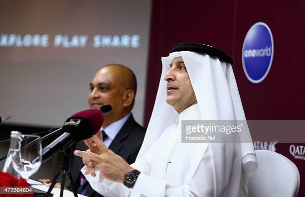 His Excellency Akbar Al Baker Qatar Airways chief executive Akbar Al Baker speaks to the media during the Arabian Travel Market on May 6 2015 in...