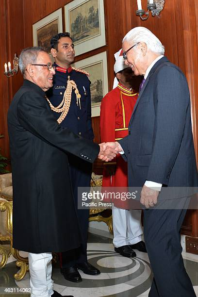 His Excellency Dr. Tony Tan Keng Yam , President of the Republic of Singapore and Mrs. Mary Tan, calling on The President of India, Shri Pranab...