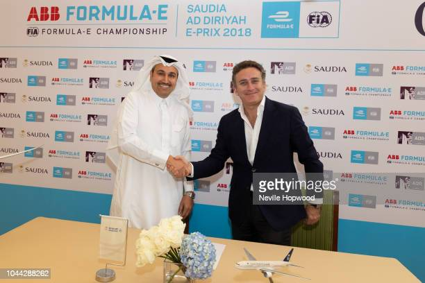 His Excellency Eng Saleh Nasser AlJasser Saudi Arabian Airlines Director General and Alejandro Agag Founder and CEO of Formula E shake hands after...