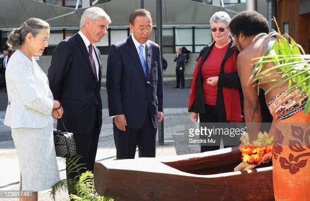 His Excellency Mr Ban Kimoon UN SecretaryGeneral along with his wife Mrs Ban Soontaek and Roger France Chancellor of the University of Auckland...