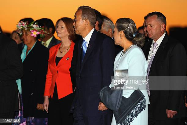 His Excellency Mr Ban Kimoon UN SecretaryGeneral and his wife Yoo Soontaek arrive at the War Museum on September 6 2011 in Auckland New Zealand The...