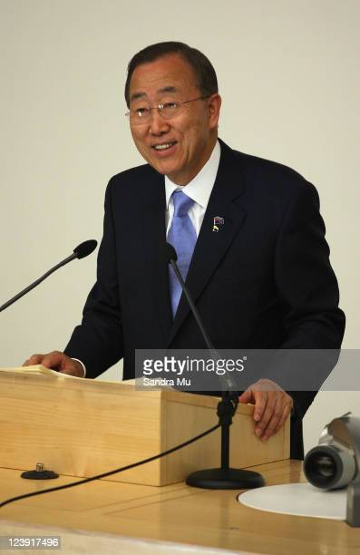 His Excellency Mr Ban Kimoon UN SecretaryGeneral makes an address to Auckland University students on September 6 2011 in Auckland New Zealand United...