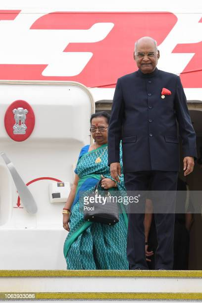 His Excellency Mr Ram Nath Kovind President Of The Republic Of India and his wife Mrs Savita Kovind disembark their flight as they arrive in...