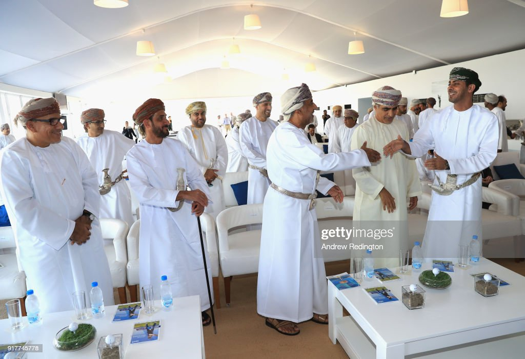 His Excellency Sheikh Saad Al Saadi, Oman's Minister of Sport, (far right) meets dignitaries and key sponsors during the Opening Ceremony for the inaugural NBO Oman Golf Classic at Al Mouj Golf on February 13, 2018 in Muscat, Oman.