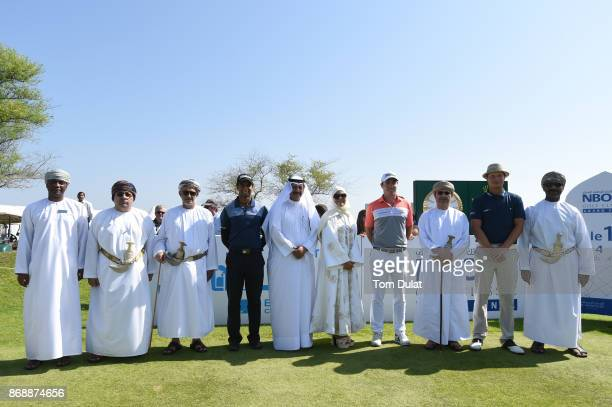 His Excellency Sultan bin Salem Al Habsi Deputy Chairman of the Board of Governors of the Central Bank of Oman poses with Aaron Rai of England Julien...