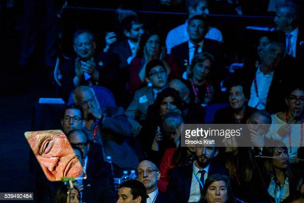 His face reflected in a teleprompter Republican presidential candidate Donald Trump addresses the annual policy conference of the American Israel...