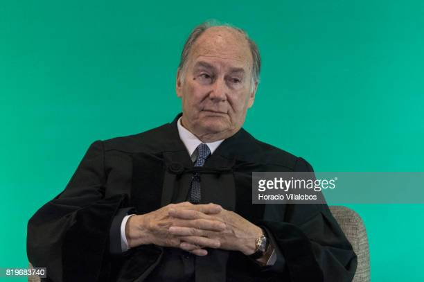 His Highness Shah Karim alHussaini Prince Aga Khan listens to the laudation given by Professor Daniel Traca Dean of Nova SBE during the ceremony in...