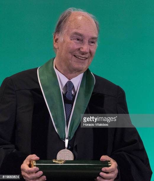 His Highness Shah Karim alHussaini Prince Aga Khan shows the medal and diploma during the ceremony in which he was awarded with the Honoris Causa...