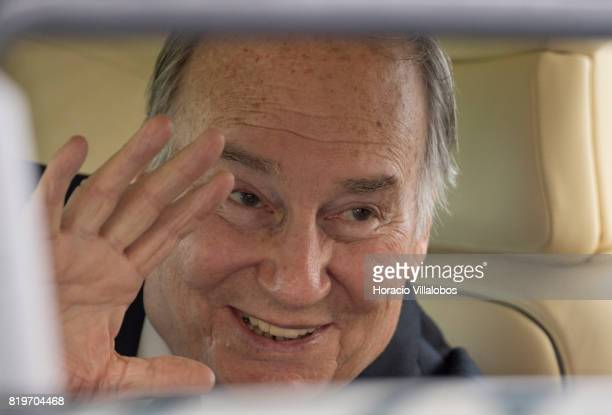 His Highness Shah Karim alHussaini Prince Aga Khan waves from inside his car while leaving NOVA University of Lisbon at the end of the ceremony in...