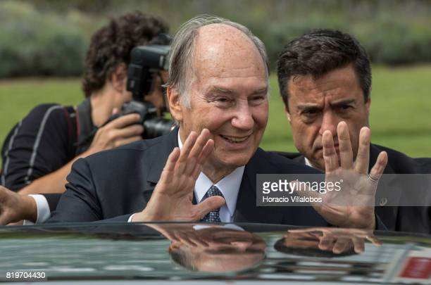 His Highness Shah Karim alHussaini Prince Aga Khan waves while leaving NOVA University of Lisbon at the end of the ceremony in which Prince Aga Khan...