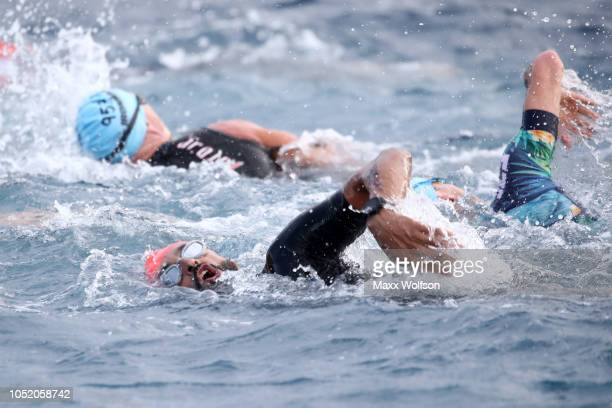 His Highness Shaikh Nasser Bin Hamad Al Khalifa of Bahrain competes during the swimming course of the IRONMAN World Championships brought to you by...