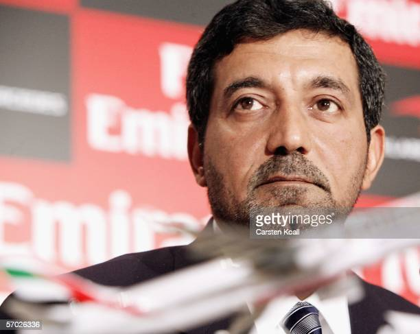 His Highness Sheikh Ahmed bin Saeed AlMaktoum Chairman and Chief Exekutive Emirates Airline Group looks on during the McLaren Mercedes Press...