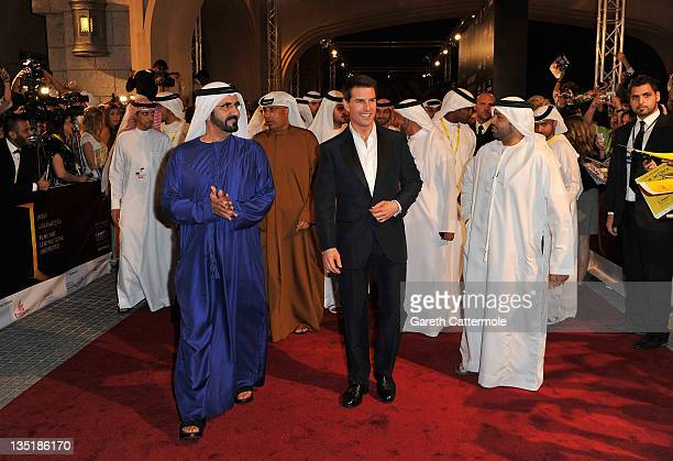 "His Highness Sheikh Mohammed Bin Rashid Al Maktoum and actor Tom Cruise attend the ""Mission: Impossible - Ghost Protocol"" Premiere during day one of..."