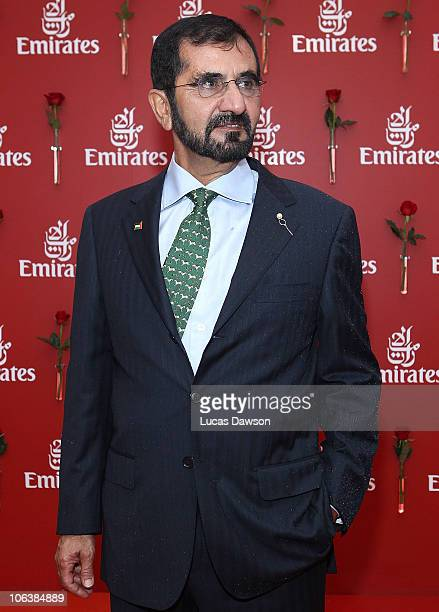 His Highness Sheikh Mohammed Bin Rashid Al Maktoum, UAE Vice President and Prime Minister and Ruler of Dubai arrives at AAMI Victoria Derby Day at...