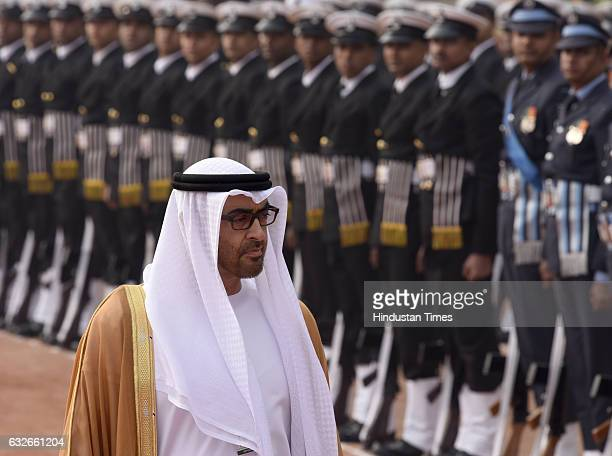 His Highness Sheikh Mohammed Bin Zayed Al Nahyan The Crown Prince of Abu Dhabi inspects Guard of Honour during his ceremonial reception at...