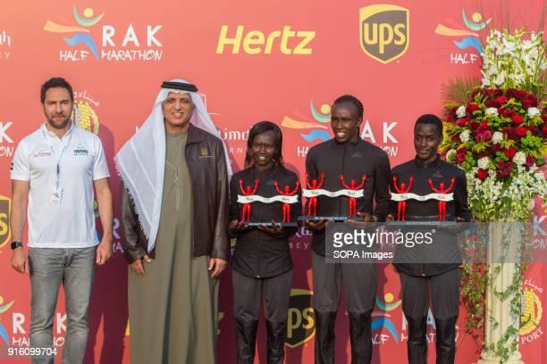 His Highness Sheikh Saud Bin Saqr Al Qasimi and CEO of RAK Tourism Haitham Mattar hands over the trophies to the winner Fancy Chemutai second place...