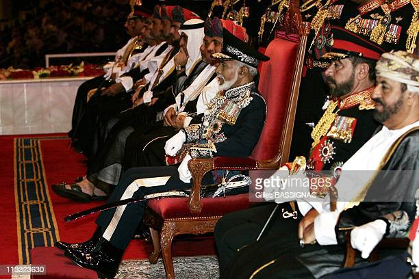 His Highness Sultan Qaboos Bin Said Attends A Military Tattoo Ceremony At The Al Fateh Stadium For The Celebration Of The 35Th National Day...