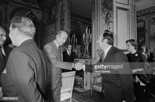 His Highness the Aga Khan and Begum Salimah greeted by the President of France Giscard d'Estaing, invited at a private lunch at the Elysée office on...
